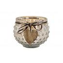 wholesale Wind Lights & Lanterns: Glass lantern with wooden heart pendant silver (