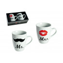 Cup Set Mr / Mrs porcellana, 10 cm, 2 pezzi