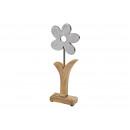 Flower Metal / Mango Wood Metal Silver (B / H / T)