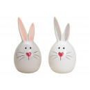 Ceramic Gray Hare, white 2- times assorted , (B /