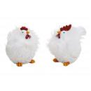 Pollo / gallo con piume di poly bianco 2- volte as