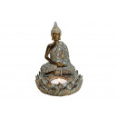 Buddha with Tea Light Holder in Poly Brown (B / H