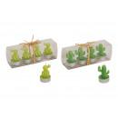 Mécses szett Cactus viasz zöld 4 db, 2-szeres