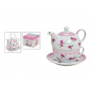 TEA-SET CON LA TAZZA + PIATTO ROSE PORCELLANA