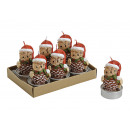 Tealight-Set Owl with Christmas hat, 6-part, B