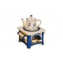Großhandel Duftlampen: Duftlampe aus Keramik, Herd mit Kanne in weiß/blau