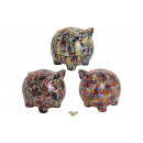 wholesale Saving Boxes: Spardose pig made of ceramic, 3-way assorted, B26