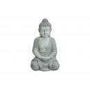 Buddha seduto in grigio da poli, 47 cm