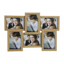 Photo frame per 6 foto in marrone da legno / vetro