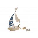 Barca a vela bianco, metallo blu (B / H / T) 15x24