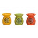 wholesale Fragrance Lamps: Aroma lamp in green / yellow / orange ceramic, 3-f