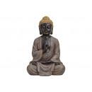 Buddha de poly, B27 x H40 cm x T18