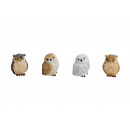 wholesale Home & Living: Owl made of poly, 4-fold assorted, B5 x T6 x H5 cm