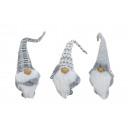 groothandel Woondecoratie: Imp Wit / grijs pluche / textiel, 3-voudig sortie