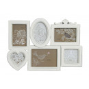 Photo frame per 6 foto in plastica bianca, B47