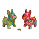 wholesale Decoration: Spardose dog / flower decoration made of ceramic,