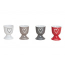 cuore Eierbecher ceramica decorativa, 4 volte asso