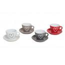 Espresso tazza e piattino cuore di ceramica, 4-f