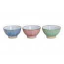 Miska niebieski, różowy, zielony ceramicznych trzy