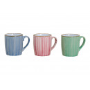 Mug blue, pink, green ceramic 3 times assorted ,