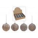Palla di Natale grigio argento da vetro, 4-Sorti