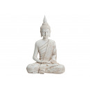 Buddha en blanc de Poly, B27 x T16 x H40 cm