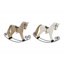 Cavallo a dondolo W / BR legno / metallo 2-FACH as