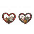 wholesale Pendant: Christmas -times assorted, Heart of wood, 2 -times