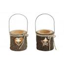 Vento motivo cuore / stella di legno / vetro, 2-s