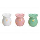 Duftlampe Herz weiß, pink, grün aus Keramik Bunt 3