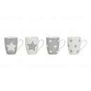 Coppa stella in grigio / porcellana bianca, 4-s