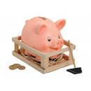wholesale Wines & Accessories: Piggy bank in wooden box made of pink / pink clay