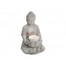 Buddha CON PORTA CANDELA GREY POLY 9X8X14CM