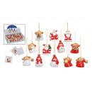 figure Mini Natale appesi, in ceramica, in modo