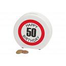 Salvadanaio Happy Birthday 50 ceramica, B14 x T5 x