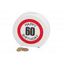 Salvadanaio Happy Birthday 60 ceramica, B14 x T5 x