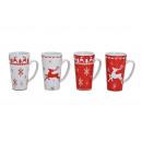 Coppa Elchdekor in rosso-bianco ceramica, 4-s