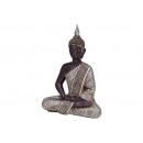 Buddha ül ezüst poli, 29 cm