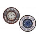 Großhandel Uhren & Wecker: Wanduhr Vintage Rund aus Metall, 2-fach sortiert,
