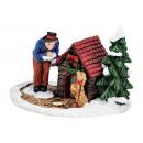 Winter Scene ember és kutya poli, B25 x T24 cm