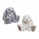 Hare in white / gray from plush, 2 times assorted
