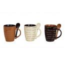 tazza di cappuccino con cucchiaio, ceramica, allin