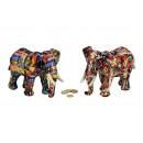 Spardose elefante di ceramica colorato, 2- assorti