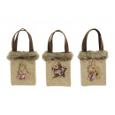 wholesale Miscellaneous Bags: Bag Christmas motif made of jute / artificial fur