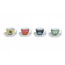 wholesale Crockery: Espressotasse with plate Coffee from porcelain, 4-
