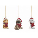 Christmas dog dog made of poly, 3 -times assorted,