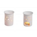 Großhandel Duftlampen: Duftlampe Sterne, durchbrochenes weiß aus Porzella
