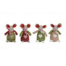 groothandel Woondecoratie: Winter muis voelde / stof, 4 maal geassorteerd , B