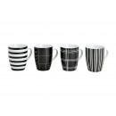 strisce tazza di porcellana in bianco e nero, 4 vo