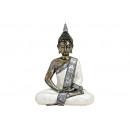 Buddha seduto in bianco / poli d'argento, B30